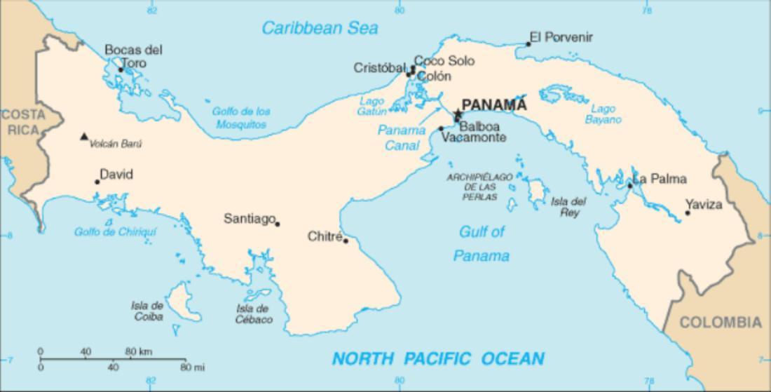 パナマ運河、位置
