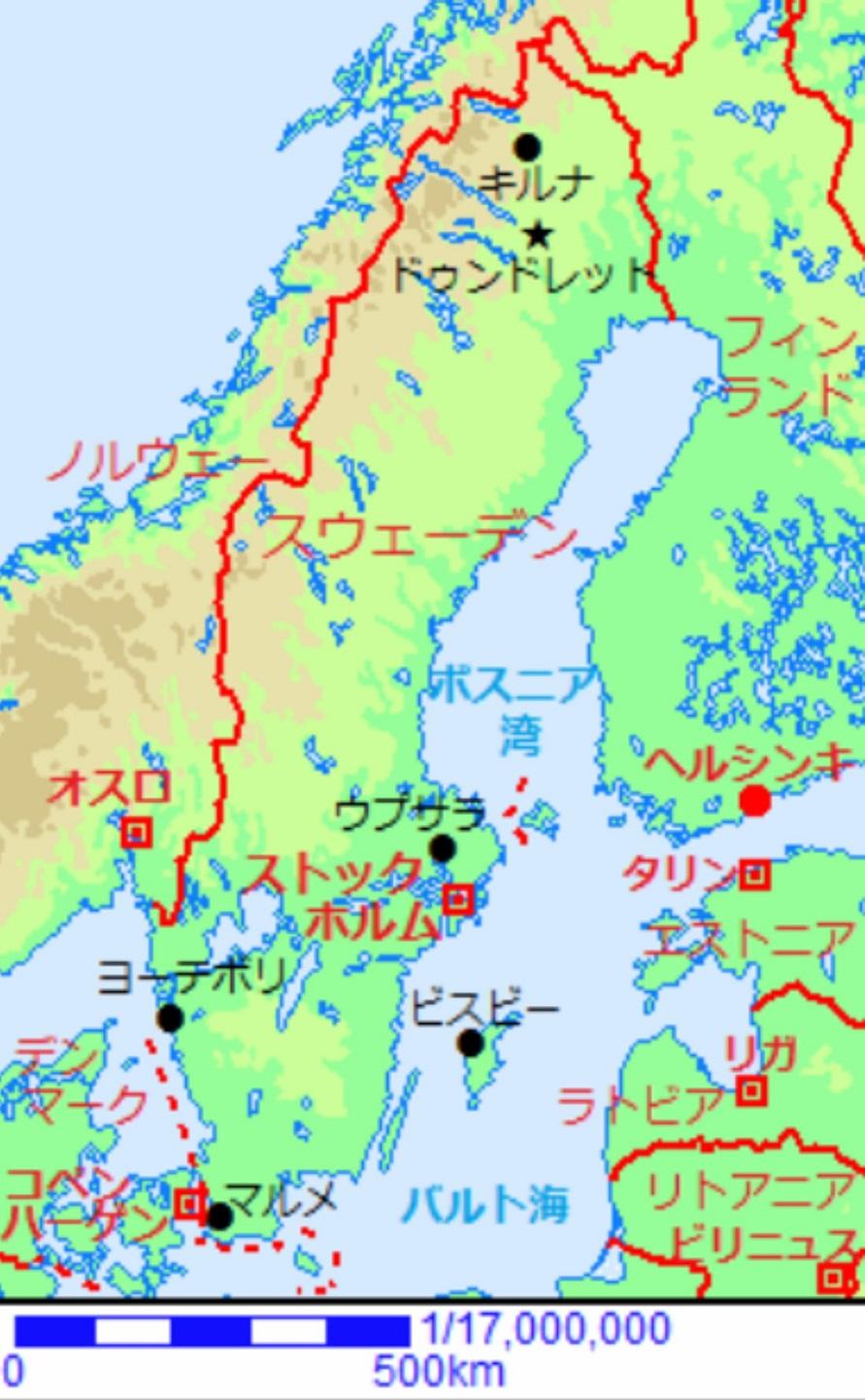スカンジナビア半島、地形図_s